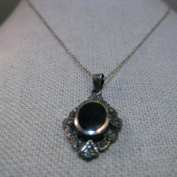 """Vintage Sterling Silver Marcasite & Inlaid Onyx Necklace, 16"""", 3.75 grams"""