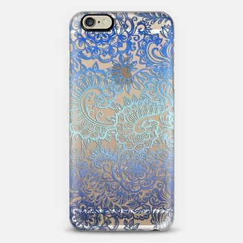 Ombre Lace Doodle in Ocean Blues on Transparent iPhone 6 case by Micklyn Le Feuvre | Casetify