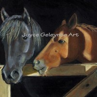 ACEO Print: Two Horses At Barn Gate: Oil Pastel Art