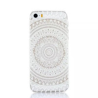 Clear Plastic Phone Shell White Floral Paisley Flower Mandala Case Cover for iPhone 5 5S 5SE 5C 6 6S 6Plus 6S plus