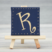 """Navy with Gold Initial on Mini Canvas with Easel / Personalized Gifts / Navy Wedding Favors / 3"""" x 3"""" Canvas"""