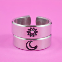Sun And Moon Pair Rings - Simple Couples Rings, Friendship Gift Rings, Custom Personalized Hand Stamped Aluminum Rings