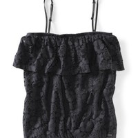 Cropped Lace Ruffle Tube Top