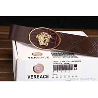 Versace Buckle Logo Blue Leather Versace Litchi Stria Belt Collection Italy Men's Silver