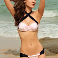Black and White Push Up Crisscross Halterneck Ruched Bikini