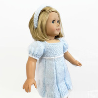 AG Doll Dress, 18 Inch Doll Clothes, Doll Outfit, Blue Doll Dress