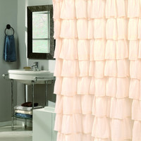 Royal Bath Flamenco Tiered Crushed Voile Fabric Shower Curtain - Ivory
