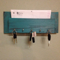 Teal and brown mail and key holder jewelery box holder, necklace holder, key hanger, mail holder, entry shelf, or mailbox