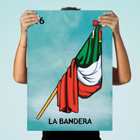Loteria La Bandera Mexican Retro Illustration Art Print Vintage Giclee on Cotton Canvas and  Paper Canvas Poster Wall Decor
