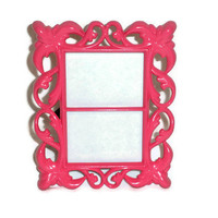 Pink Picture Frame - Baroque Style - Holds Two Wallet-Sized Photos