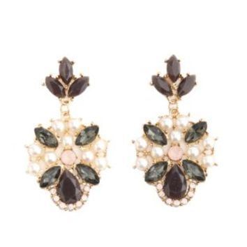 Faceted Stone & Pearl Drop Earrings by Charlotte Russe - Gold