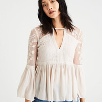 AE Embroidered Mesh Bell-Sleeve Top, Cream