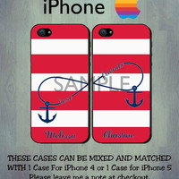 Best Friends iPhone Case - Red Stripe Anchor Infinity iPhone Case - iPhone 4 Case or iPhone 5 Case - 2 Case Set