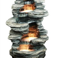 SheilaShrubs.com: Stacked Shale Outdoor Water Fountain w/ LED Lights DW-96023 by Sunnydaze Decor: Garden Fountains