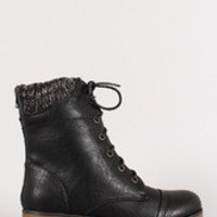 Women's Sweater Collar Military Lace Up Boot