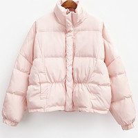 Pink Long Sleeve Quilting Striped Coat