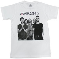 Lectro Maroon 5 T-Shirt Full Band Rock New White Tee