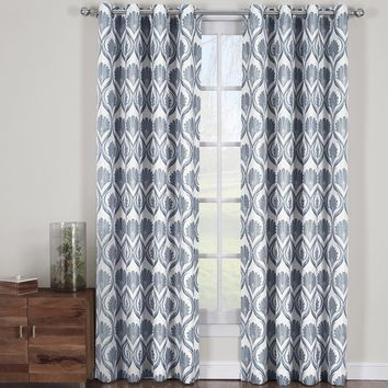 Gray Jacqueline Jacquard Grommet Curtain Panels (Set of 2 Panels )