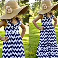 Number 1 Seller - Little Girls Dresses - Blue Chevron Maxi - Lots Of Colors Available