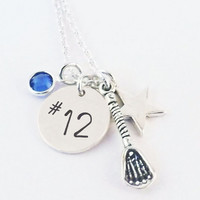 Lacrosse Captain Number Necklace, Lacrosse Number Necklace with Captains Star with Sterling Silver Lacrosse Stick and Crystal Birthstone