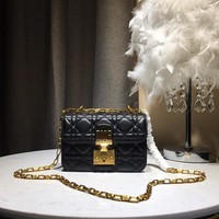 Kuyou Gb59819 Dior Envelope Chain Bag In Black Quilted Leather With Cd Clasp 20*10*9cm