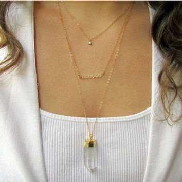 Tiered Crystal Necklace Set