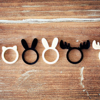 Kawaii Moose Antlers Ring - Woodland creatures ring in Ivory and black