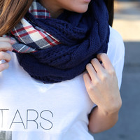 Cable Knit + Plaid Infinity {Navy} - Navy