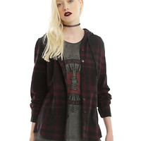 Burgundy & Black Plaid Hooded Girls Woven Button-Up