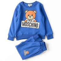 Moschino Girls Boys Children Baby Toddler Kids Child Fashion Casual Top Sweater Pullover Pants Trousers Two Piece Set