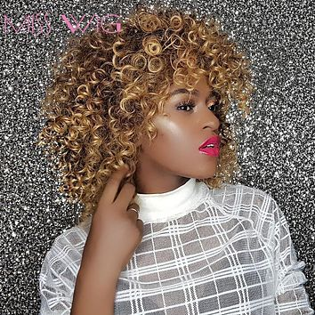 16Inches Long Afro Kinky Curly Wigs for Black Women Blonde Mixed Brown Synthetic Wigs African Hairstyle