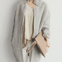 Gray Stand-Up Collar Long Sleeve Knitted Cardigan