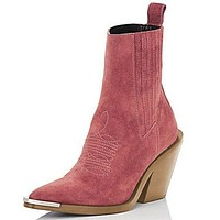 Women Fashion Suede Slip On Western Ankle Boots