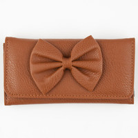 Faux Leather Bow Wallet Cognac One Size For Women 22866640901