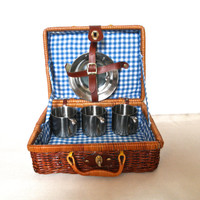 Vintage Wicker Picnic Basket With Silver Dishes Camping Gear Photo Props Easter Baskets Childrens Picnic Basket