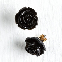 Vintage Inspired Retro Rosie Earrings in Black by ModCloth
