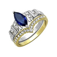 Alexandra - Women's Gold IP Two Tone Stainless Steel Ring with Blue Marquise Cut Glass Center Stone