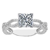 Engagement Ring - Princess Diamond Vintage Infinity Swirl Engagement Ring 0.38 tcw. In 14K White Gold - ES337PRWG