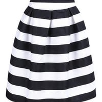 Black And White Stripe High Waist A-line Skirt