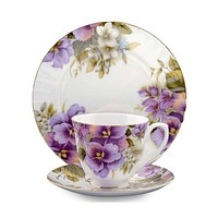 Pansy Bone China Tea Cup (Teacup) and Saucer Set Set of 4