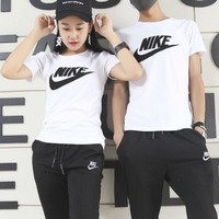 """NIKE"" Fashion Casual Embroidery Stitching Letter Unisex Short Sleeve T-shirt Couple Shirt Top Tee"