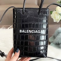 Balenciaga New fashion letter print leather shoulder bag crossbody bag handbag Black