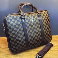 Louis Vuitton Classic LV Letter Check Pattern Casual Business Briefcase Computer Bag File Bag