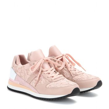Leather sneakers with lace appliqué