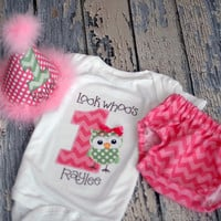 Girls Birthday Party Hat, Diaper Cover, Onesuit - First Birthday, Smash Cake Pics, Photo Prop - Look Whoos One Owl, What a Hoot