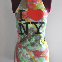 I Love NY Tank Top Colorfully Tie Dyed in Neon Pink by SewRed