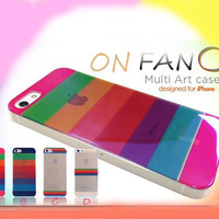 Transparent Rainbow Hard Cover Case For Iphone 4/4s/5