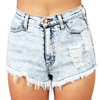 Acid Ruins High Waist Shorts | Denim Shorts at Pink Ice