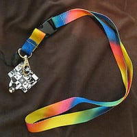 "Lanyard/Landyard Vibrant Multi Colored 15"" lanyard New With Tags!!!"