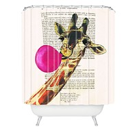 Coco de Paris Giraffe With Bubblegum Shower Curtain